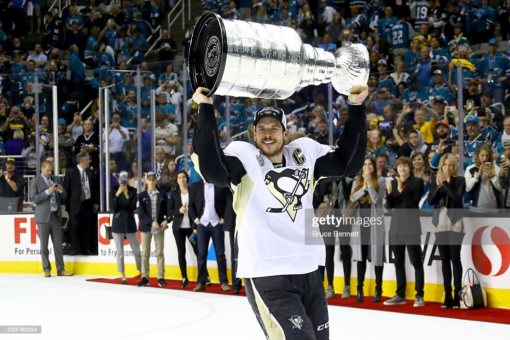 Sidney Crosby #87 of the Pittsburgh Penguins celebrates with the Stanley Cup after their 3-1 victory to win the Stanley Cup against the San Jose Sharks in Game Six of the 2016 NHL Stanley Cup Final at SAP Center on June 12, 2016 in San Jose, California.