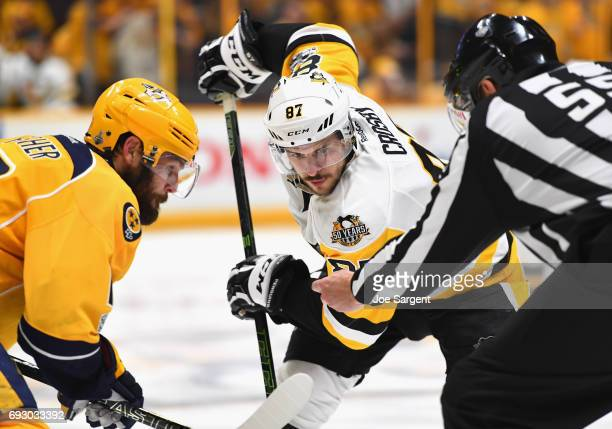 Sidney Crosby of the Pittsburgh Penguins faces off during the third period of Game Four of the 2017 NHL Stanley Cup Final against the Nashville...
