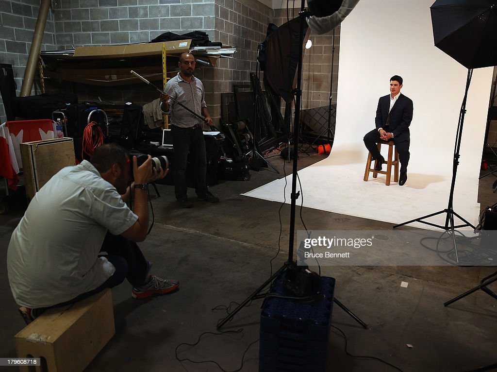 Sidney Crosby of the Pittsburgh Penguins is photographed in a portrait session during the National Hockey League Player Media Tour at the Prudential Center on September 5, 2013 in Newark City.