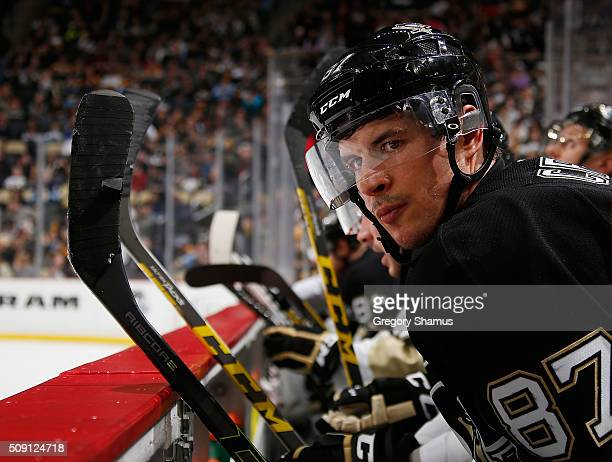 Sidney Crosby of the Pittsburgh Penguins looks on during the third period against the Anaheim Ducks at Consol Energy Center on February 8 2016 in...