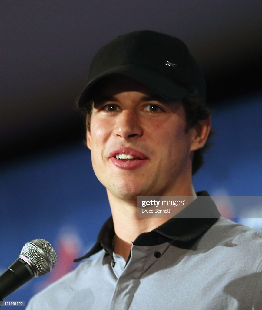 Sidney Crosby of the Pittsburgh Penguins meets with the media following the NHLPA meeting at Marriott Marquis Times Square on September 13, 2012 in New York City.
