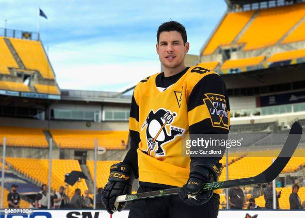 Sidney Crosby of the Pittsburgh Penguins poses for a photo prior to practice for the 2017 Coors Light NHL Stadium Series game to be played between...