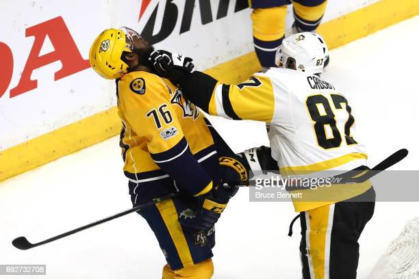 Sidney Crosby of the Pittsburgh Penguins punches PK Subban of the Nashville Predators during the first period in Game Four of the 2017 NHL Stanley...