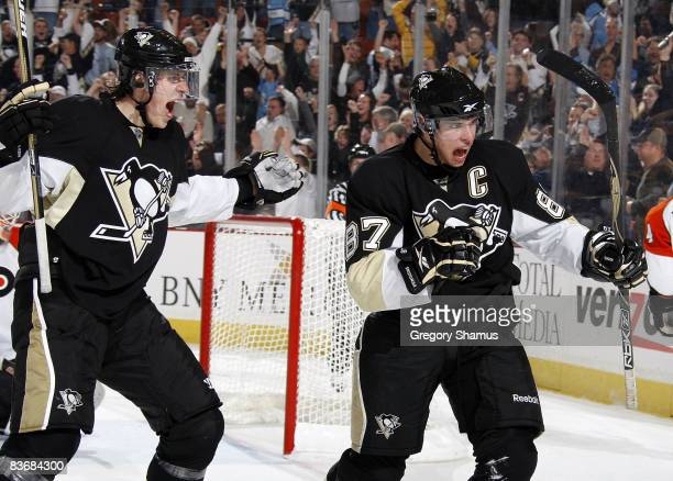Sidney Crosby of the Pittsburgh Penguins reacts after his goal with Evgeni Malkin against the Philadelphia Flyers on November 13 2008 at Mellon Arena...