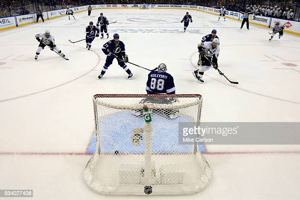 Sidney Crosby of the Pittsburgh Penguins scores a goal against Andrei Vasilevskiy of the Tampa Bay Lightning during the second period in Game Six of...