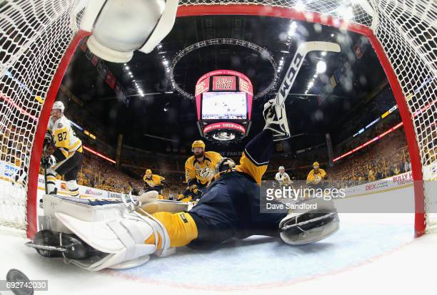Sidney Crosby of the Pittsburgh Penguins scores on goaltender Pekka Rinne of the Nashville Predators during the first period of Game Four of the 2017...
