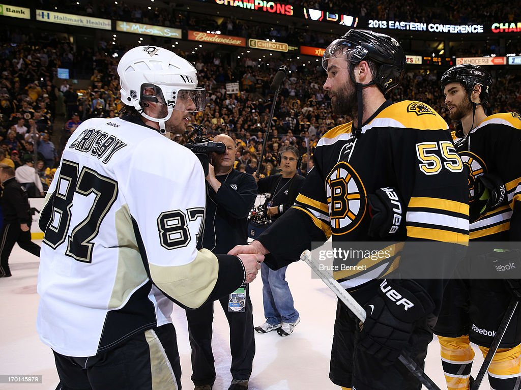 Sidney Crosby #87 of the Pittsburgh Penguins shakes hands with Johnny Boychuk #55 of the Boston Bruins after the Bruins defeated the Penguins 1-0 in Game Four of the Eastern Conference Final during the 2013 NHL Stanley Cup Playoffs at the TD Garden on June 7, 2013 in Boston, United States.