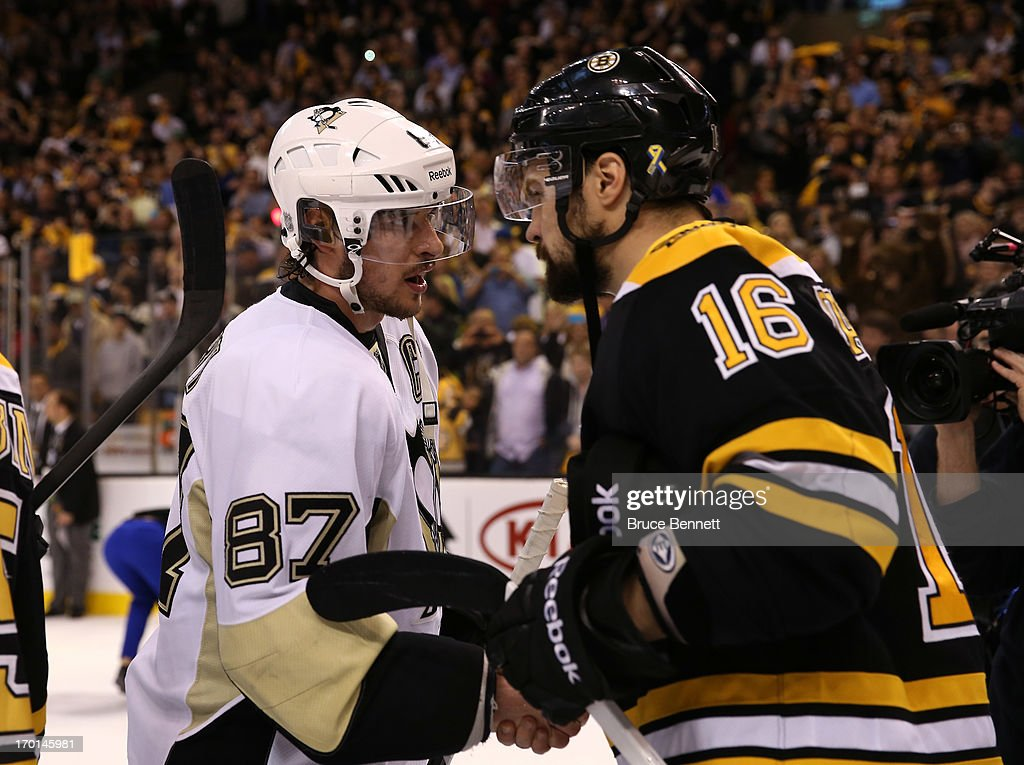 Sidney Crosby #87 of the Pittsburgh Penguins shakes hands with Kaspars Daugavins #16 of the Boston Bruins after the Bruins defeated the Penguins 1-0 in Game Four of the Eastern Conference Final during the 2013 NHL Stanley Cup Playoffs at the TD Garden on June 7, 2013 in Boston, United States.
