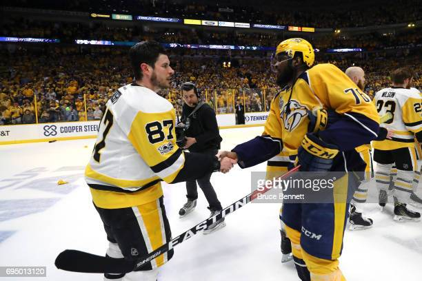 Sidney Crosby of the Pittsburgh Penguins shakes hands with PK Subban of the Nashville Predators after winning Game Six of the 2017 NHL Stanley Cup...