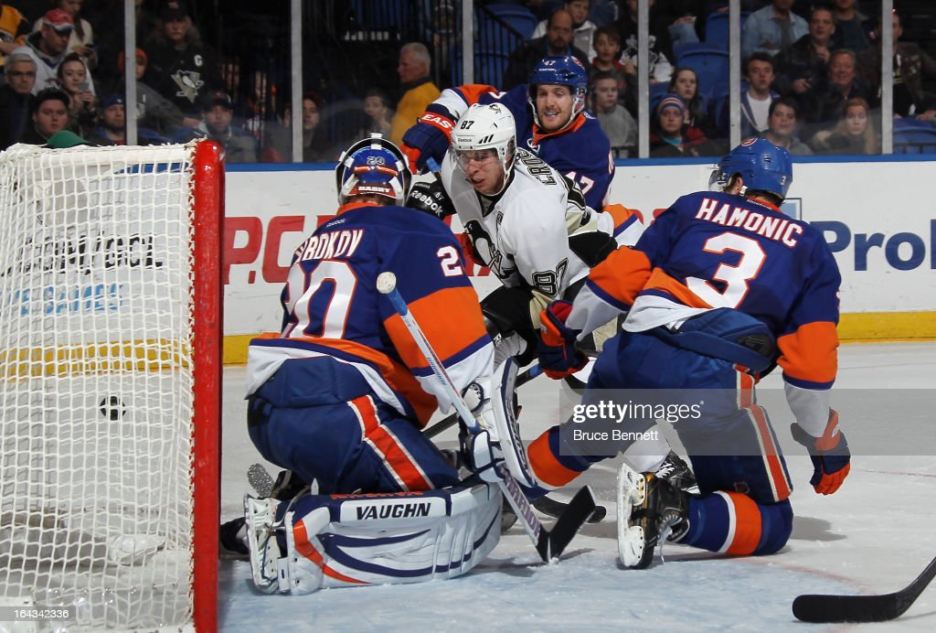Sidney Crosby #87 of the Pittsburgh Penguins shoots wide of the New York Islanders net during the first period at the Nassau Veterans Memorial Coliseum on March 22, 2013 in Uniondale, New York.