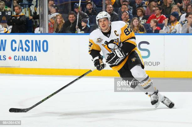 Sidney Crosby of the Pittsburgh Penguins skates against the Buffalo Sabres during an NHL game at the KeyBank Center on March 21 2017 in Buffalo New...