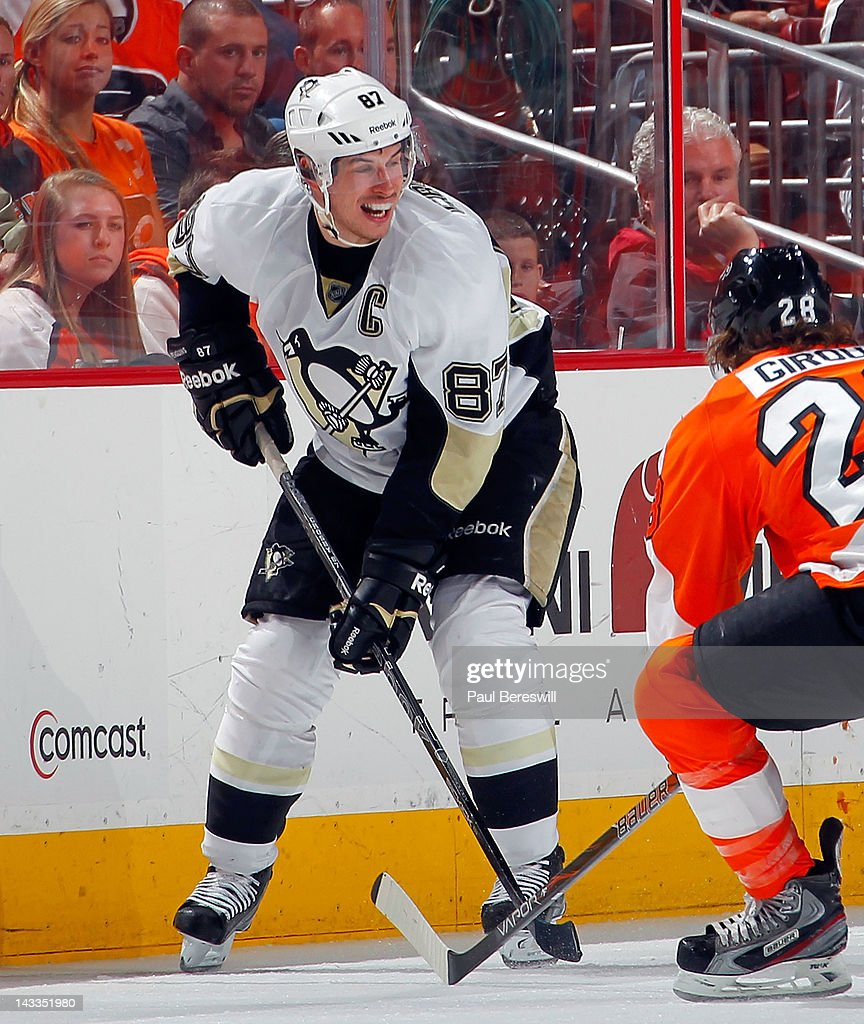 Sidney Crosby #87 of the Pittsburgh Penguins skates against the Philadelphia Flyers in Game Six of the Eastern Conference Quarterfinals during the 2012 NHL Stanley Cup Playoffs at Wells Fargo Center on April 22, 2012 in Philadelphia, Pennsylvania. The Flyers won the game 5-1 to eliminate the Penguins from the playoffs.
