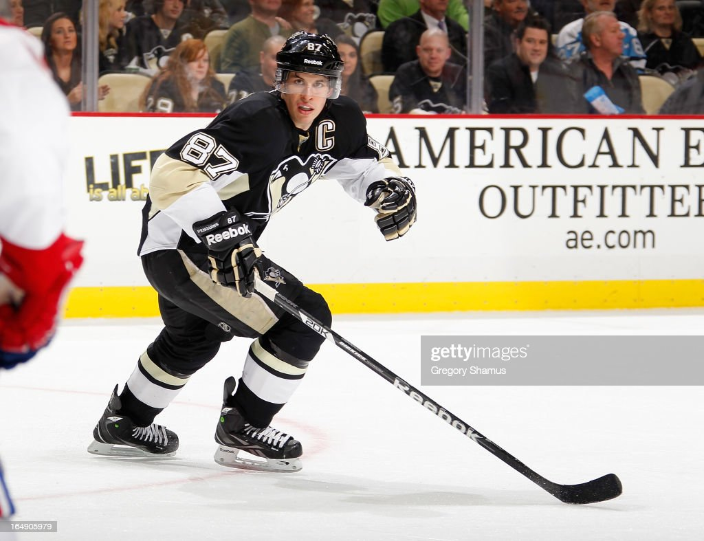 Sidney Crosby #87 of the Pittsburgh Penguins skates against the Montreal Canadiens on March 26, 2013 at Consol Energy Center in Pittsburgh, Pennsylvania.