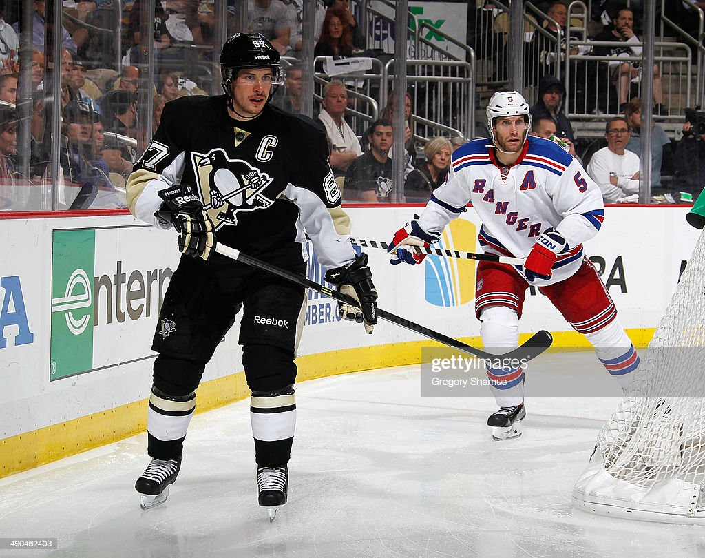 <a gi-track='captionPersonalityLinkClicked' href=/galleries/search?phrase=Sidney+Crosby&family=editorial&specificpeople=212781 ng-click='$event.stopPropagation()'>Sidney Crosby</a> #87 of the Pittsburgh Penguins skates against the New York Rangers in Game Five of the Second Round of the 2014 Stanley Cup Playoffs at Consol Energy Center on May 9, 2014 in Pittsburgh, Pennsylvania.