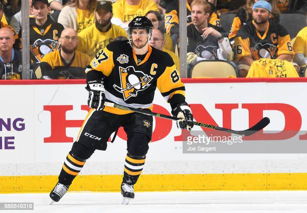 Sidney Crosby of the Pittsburgh Penguins skates against the Ottawa Senators in Game Five of the Eastern Conference Final during the 2017 NHL Stanley...