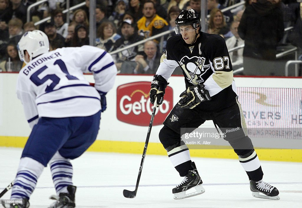 Sidney Crosby #87 of the Pittsburgh Penguins skates against the Toronto Maple Leafs during the game at Consol Energy Center on January 23, 2013 in Pittsburgh, Pennsylvania.