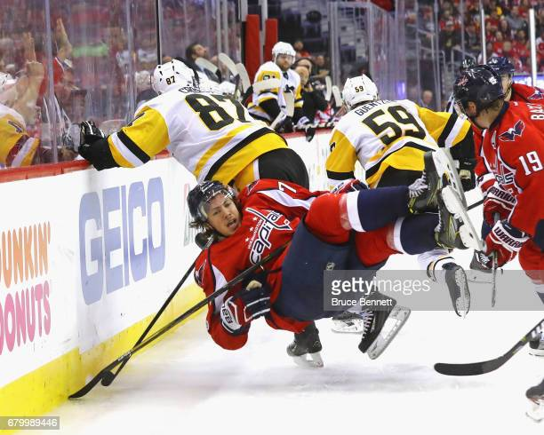 Sidney Crosby of the Pittsburgh Penguins skates against TJ Oshie of the Washington Capitals in Game Five of the Eastern Conference Second Round...