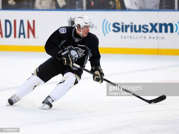 Sidney Crosby of the Pittsburgh Penguins skates during the 2014 NHL Stadium Series practice day on February 28 2014 at Soldier Field in Chicago...