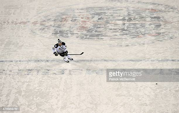 Sidney Crosby of the Pittsburgh Penguins skates during warmups prior to the 2014 NHL Stadium Series game against the Chicago Blackhawks on March 1...