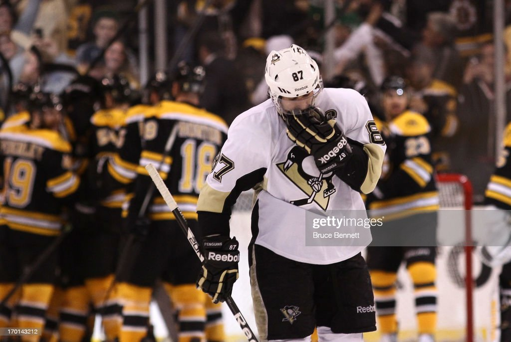Sidney Crosby #87 of the Pittsburgh Penguins skates off the ice after being defeated by the Boston Bruins 1-0 in Game Four of the Eastern Conference Final during the 2013 NHL Stanley Cup Playoffs at the TD Garden on June 7, 2013 in Boston, United States.