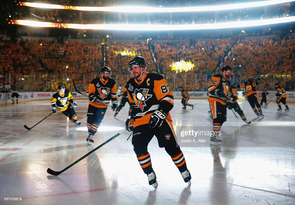 Sidney Crosby of the Pittsburgh Penguins skates prior to Game Two of the 2016 NHL Stanley Cup Final against the San Jose Sharks at Consol Energy...