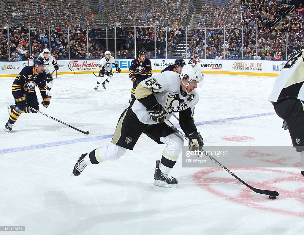 Sidney Crosby #87 of the Pittsburgh Penguins skates with the puck against the Buffalo Sabres on February 17, 2013 at the First Niagara Center in Buffalo, New York.
