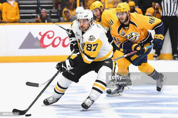 Sidney Crosby of the Pittsburgh Penguins skates with the puck during the third period of Game Four of the 2017 NHL Stanley Cup Final against the...