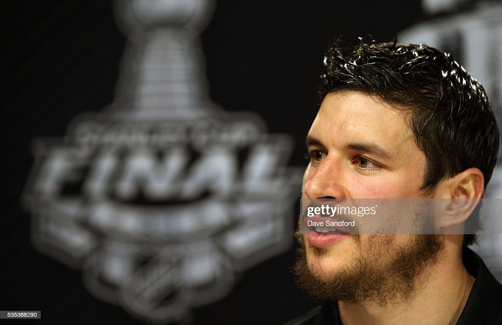 <a gi-track='captionPersonalityLinkClicked' href=/galleries/search?phrase=Sidney+Crosby&family=editorial&specificpeople=212781 ng-click='$event.stopPropagation()'>Sidney Crosby</a> #87 of the Pittsburgh Penguins speaks during Media Day prior to the 2016 NHL Stanley Cup Final between the Pittsburgh Penguins and San Jose Sharks May 29, 2016 at Consol Energy Center in Pittsburgh, Pennsylvania, United States.