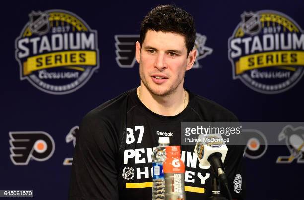 Sidney Crosby of the Pittsburgh Penguins speaks during media availability prior to practice for the 2017 Coors Light NHL Stadium Series game to be...