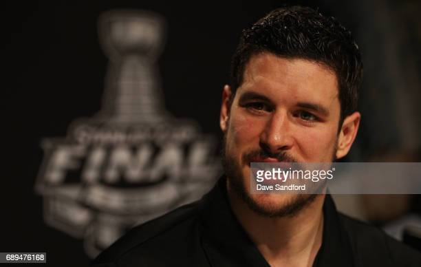 Sidney Crosby of the Pittsburgh Penguins speaks to the media during Media Day for the 2017 NHL Stanley Cup Final on May 28 2017 in Pittsburgh...