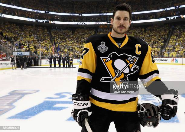 Sidney Crosby of the Pittsburgh Penguins stands on the ice during player introductions before of the start of Game One of the 2017 NHL Stanley Cup...
