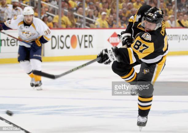 Sidney Crosby of the Pittsburgh Penguins takes a shot against the Nashville Predators during the second period of Game Five of the 2017 NHL Stanley...