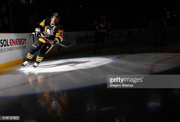 Sidney Crosby of the Pittsburgh Penguins takes the ice prior to the game against the Washington Capitals at Consol Energy Center on March 20 2016 in...