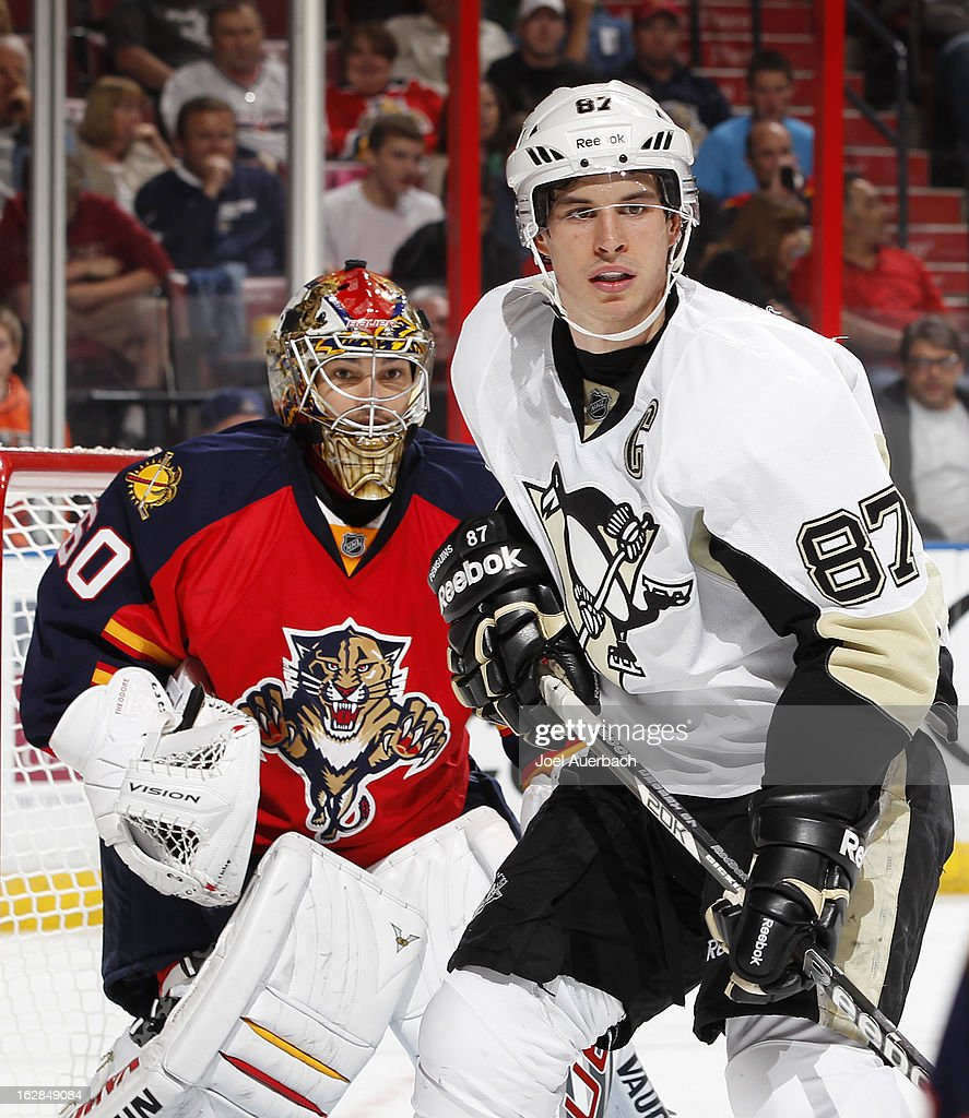 Sidney Crosby #87 of the Pittsburgh Penguins takes up a position in front of goaltender Jose Theodore #60 of the Florida Panthers during second period action at the BB&T Center on February 26, 2013 in Sunrise, Florida. The Panthers defeated the Penguins 6-4.
