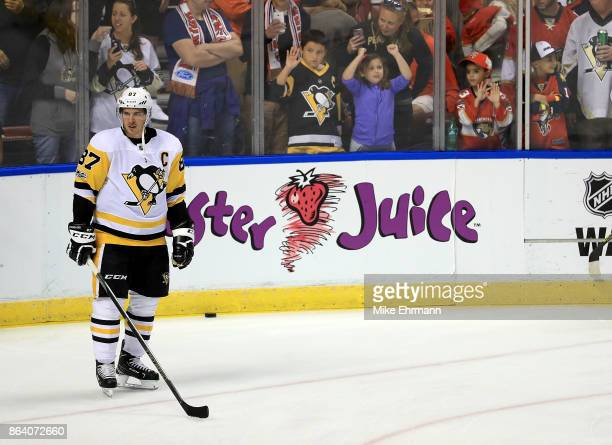 Sidney Crosby of the Pittsburgh Penguins warms up during a game against the Florida Panthers at BBT Center on October 20 2017 in Sunrise Florida