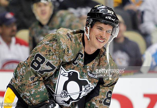 Sidney Crosby of the Pittsburgh Penguins warms up during Military Appreciation Night before the game against the Montreal Canadiens at Consol Energy...