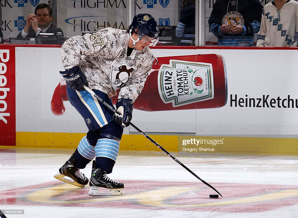 Sidney Crosby #87 of the Pittsburgh Penguins warms up while wearing a camouflage jersey prior to the game against the Tampa Bay Lightning on February 24, 2013 at Consol Energy Center in Pittsburgh, Pennsylvania.