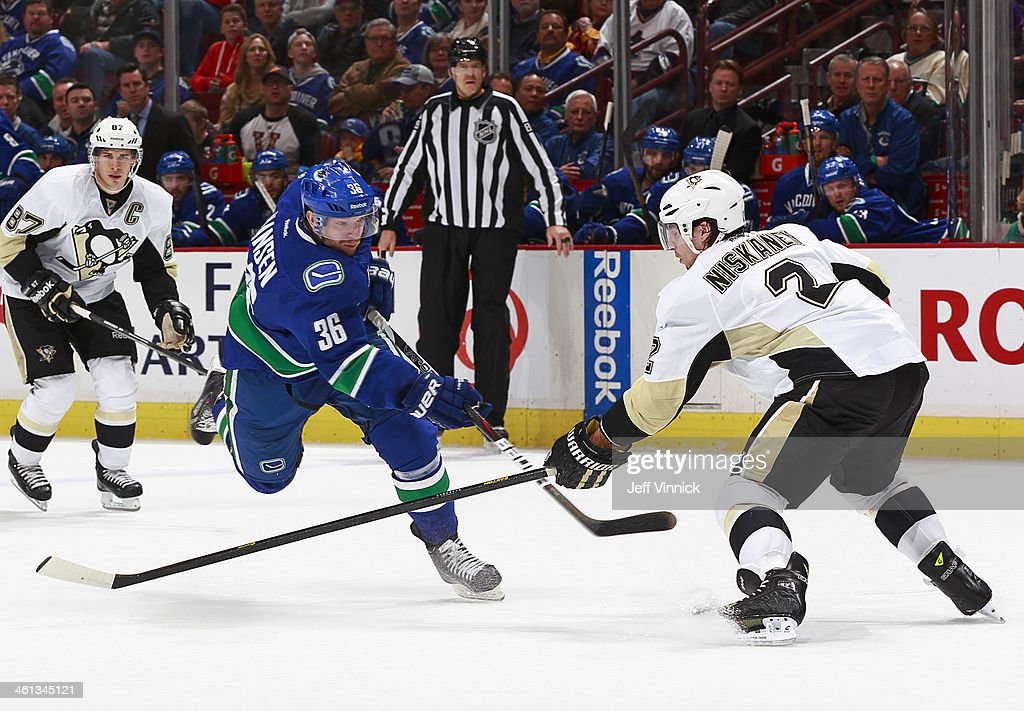 <a gi-track='captionPersonalityLinkClicked' href=/galleries/search?phrase=Sidney+Crosby&family=editorial&specificpeople=212781 ng-click='$event.stopPropagation()'>Sidney Crosby</a> #87 of the Pittsburgh Penguins watches as <a gi-track='captionPersonalityLinkClicked' href=/galleries/search?phrase=Jannik+Hansen&family=editorial&specificpeople=741716 ng-click='$event.stopPropagation()'>Jannik Hansen</a> #36 of the Vancouver Canucks takes a shot past <a gi-track='captionPersonalityLinkClicked' href=/galleries/search?phrase=Matt+Niskanen&family=editorial&specificpeople=2106633 ng-click='$event.stopPropagation()'>Matt Niskanen</a> #2 of the Penguins during their NHL game at Rogers Arena January 7, 2014 in Vancouver, British Columbia, Canada. Pittsburgh won 5-4.