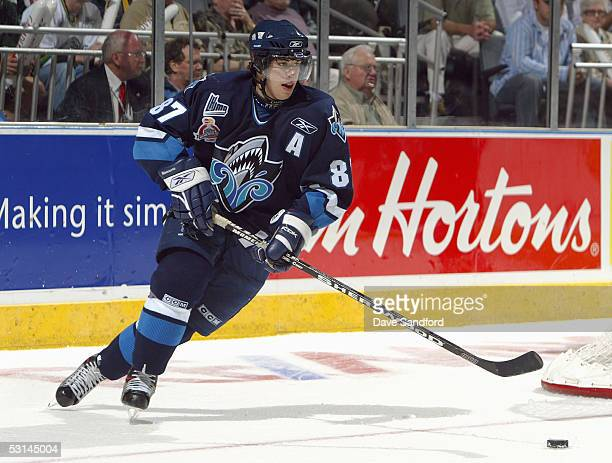 Sidney Crosby of the Rimouski Oceanic skates against the London Knights during the Memorial Cup Tournament at the John Labbatt Centre on May 21 2005...