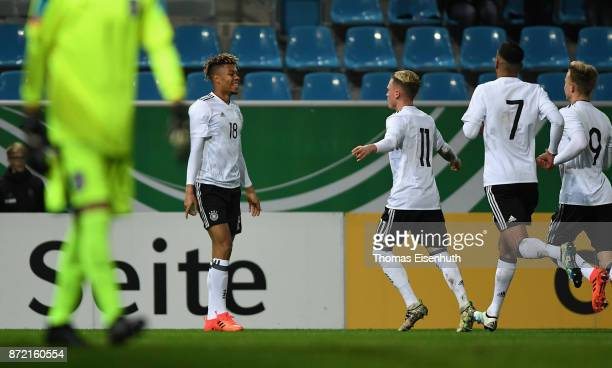 Sidney Friede of Germany celebrates with Robin Hack Aymen Barkok and Johannes Eggestein during the Under 20 International Friendly match between U20...