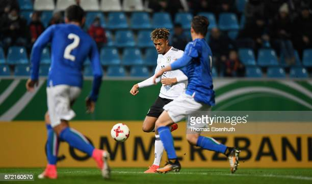 Sidney Friede of Germany scores the 11 equalizer during the Under 20 International Friendly match between U20 of Germany and U20 of Italy at...