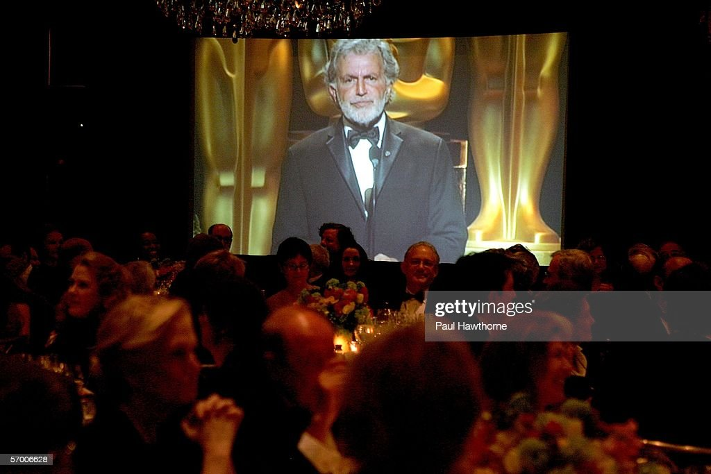 Sidney Ganis, President of the Academy of Motion Picture Arts and Sciences speaks via a video during the Academy of Motion Picture Arts & Sciences New York Oscar Night Celebration at The St. Regis Hotel March 5, 2006 in New York City.