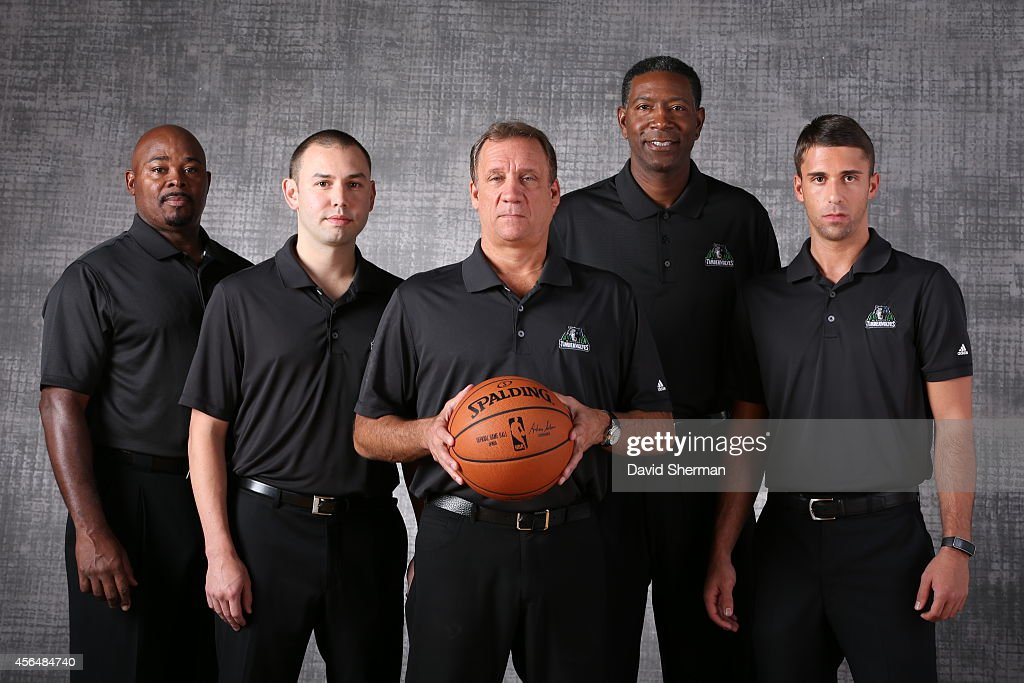 Sidney Lowe David Adelman Flip Saunders Sam Mitchell and Ryan Saunders of the Minnesota Timberwolves pose for a portrait during 2014 NBA Media Day on...