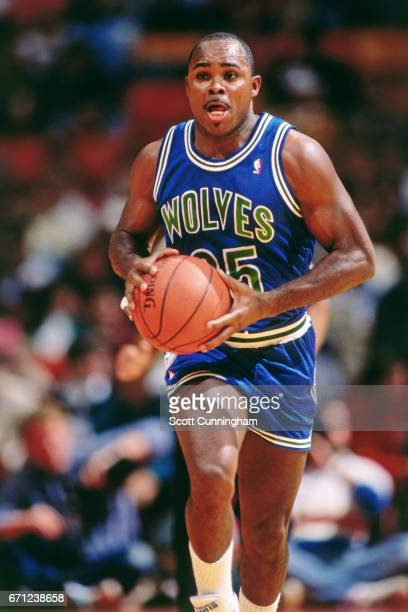 Sidney Lowe of the Minnesota Timberwolves passes against the Atlanta Hawks during a game played circa 1990 at the Omni in Atlanta Georgia NOTE TO...