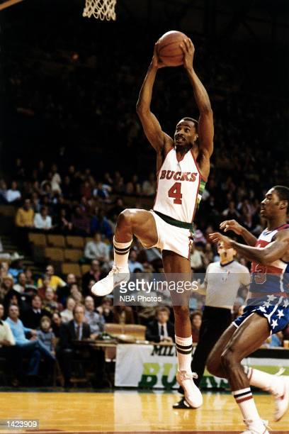 Sidney Moncraif of the Milwaukee Bucks drives to the basket against the Washington Bullets during the NBA game in Milwaukee Wisconsin NOTE TO USER...