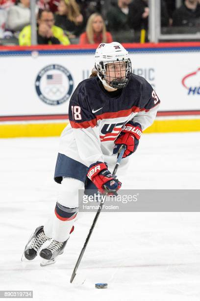 Sidney Morin of the United States controls the puck against Canada during the game during the game on December 3 2017 at Xcel Energy Center in St...