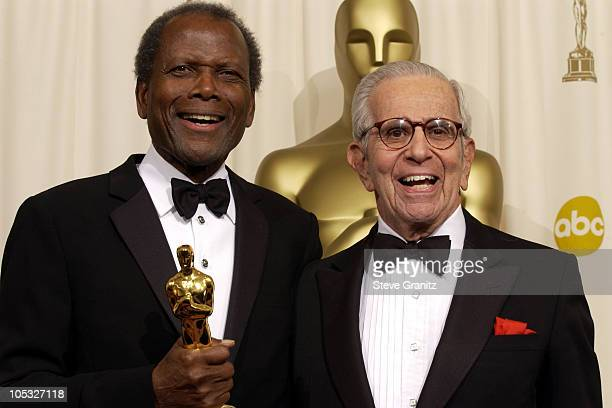 Sidney Poitier and Walter Mirisch during The 74th Annual Academy Awards Press Room at Kodak Theater in Hollywood California United States
