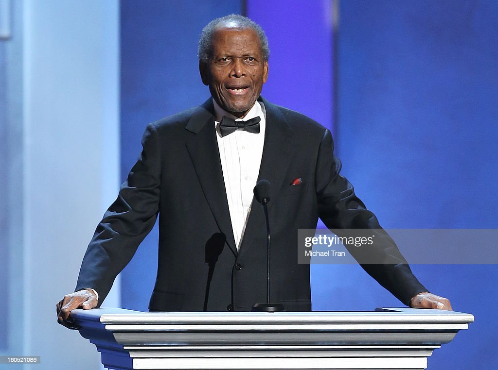 <a gi-track='captionPersonalityLinkClicked' href=/galleries/search?phrase=Sidney+Poitier&family=editorial&specificpeople=94086 ng-click='$event.stopPropagation()'>Sidney Poitier</a> speaks at the 44th NAACP Image Awards - show held at The Shrine Auditorium on February 1, 2013 in Los Angeles, California.