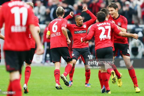 Sidney Sam of Leverkusen celebrates his team's second goal with team mates during the Bundesliga match between Bayer 04 Leverkusen and SpVgg Greuther...