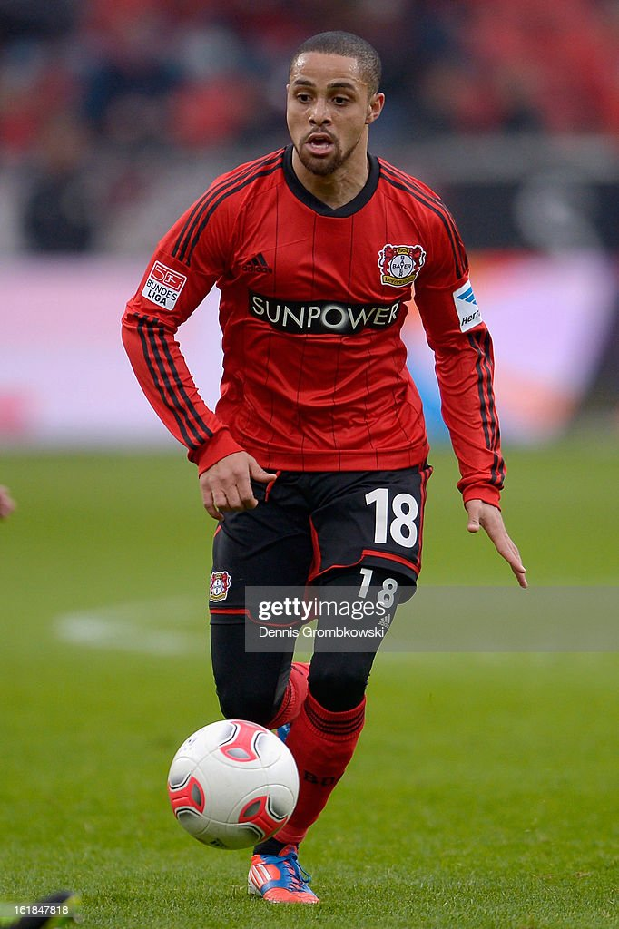 Sidney Sam of Leverkusen controls the ball during the Bundesliga match between Bayer 04 Leverkusen and FC Augsburg at BayArena on February 16, 2013 in Leverkusen, Germany.